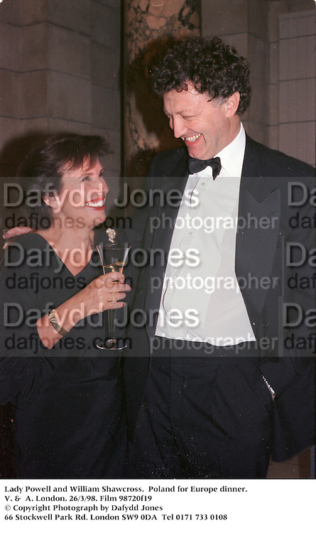 Lady Powell and William Shawcross.  Poland for Europe dinner. V. &  A. London. 26/3/98. Film 98720f19<br />