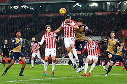 Jonathan Walters of Stoke City wins a header - Mandatory byline: Matt McNulty/JMP - 17/01/2016 - FOOTBALL - Britannia Stadium - Stoke, England - Stoke City v Arsenal - Barclays Premier League