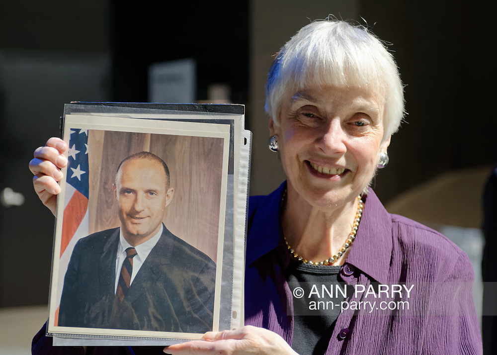 Garden City, New York, U.S. November 14, 2019. L-R, MICHELE MASON, of Manhattan, holds photo of Apollo 10 Commander Lt. Gen. Thomas Stafford at the 17th Annual Cradle of Aviation Museum Air and Space Gala. Stafford sent Mason the photo when she wrote to him once he was inducted to NASA class of 1962 astronauts.