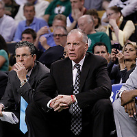 12 May 2012: Philadelphia head coach Doug Collins is seen next to associate head coach Michael Curry, assistant coach Brian James and athletic trainer Kevin N. Johnson during the Boston Celtics 92-91 victory over the Philadelphia Sixers, in Game 1 of the Eastern Conference semifinals playoff series, at the TD Banknorth Garden, Boston, Massachusetts, USA.