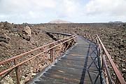 Walkway over lava field, Timanfaya Volcano Interpretation and Visitors' Centre, Lanzarote, Canary Islands, Spain