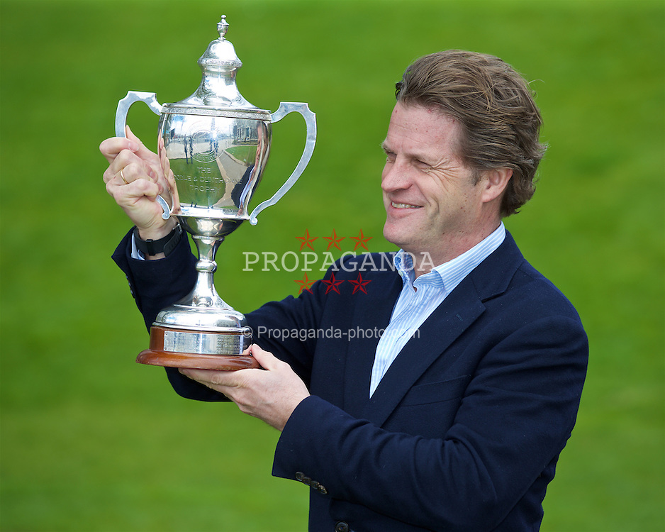 LIVERPOOL, ENGLAND - Monday, April 18, 2016: Tournament Director Anders Borg with the Boodles Trophy at the launch of the 2016 Liverpool Hope University International Tennis Tournament at the Hilton Hotel. (Pic by David Rawcliffe/Propaganda)