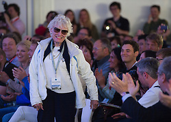 © London News Pictures. 11/07/2012. Farnborough, UK. Eve Branson, mother of Sir Richard Branson at a press conference at Farnborough Airshow for the UK unveiling of new Virgin Galactic aircraft and spacecraft products on July 11, 2012.  FIA is a seven-day international trade fair for the aerospace industry which is held every two years at Farnborough Airport . Photo credit: Ben Cawthra/LNP.