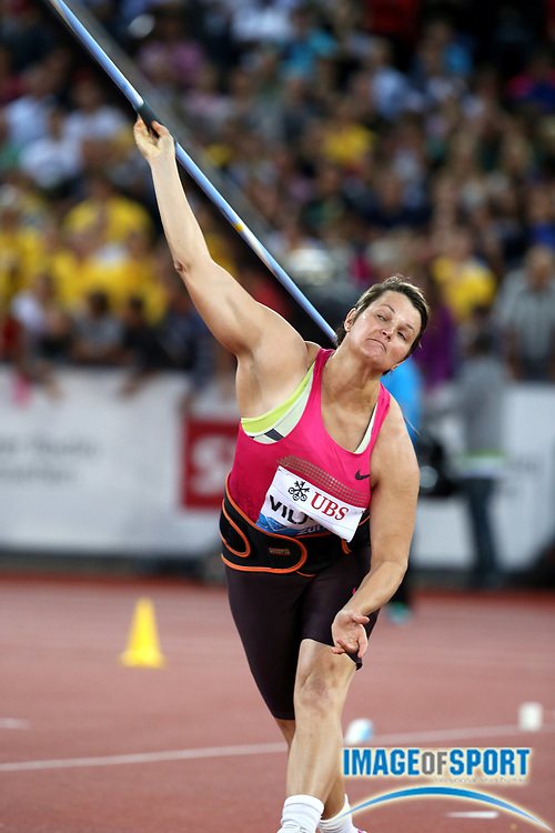 Aug 29, 2013; Zurich, SWITZERLAND; Sunette Viljoen (RSA) places fourth in the womens javelin with a throw of 205-11 (62.76m) he 2013 Weltklasse Zürich at Letzigrund Stadium. Photo by Jiro Mochizuki