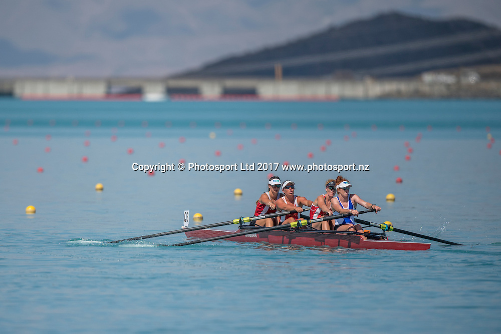 Emma Dyke (stroke), Grace Prendergast, Olivia Loe, Holly Fletcher (Southern RPC), 1st place Premier four , NZ Rowing Championships, 17 February 2017 , Lake Ruataniwha © Copyright photo: Steve McArthur / www.photosport.nz