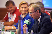 Warsaw, Poland - 2017 October 03: Jan Widera Deputy Minister of Sport attends press conference of Polish Rowing National Team at Chopin Airport on October 03, 2017 in Warsaw, Poland.<br /> <br /> Mandatory credit:<br /> Photo by &copy; Adam Nurkiewicz / Mediasport<br /> <br /> Adam Nurkiewicz declares that he has no rights to the image of people at the photographs of his authorship.<br /> <br /> Picture also available in RAW (NEF) or TIFF format on special request.<br /> <br /> Any editorial, commercial or promotional use requires written permission from the author of image.