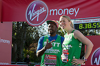 Matt Henry and Anna Watkins in Greenwich Park ahead of the start of The Virgin Money London Marathon 2014 on Sunday 13 April 2014<br /> Photo: Neil Turner/Virgin Money London Marathon<br /> media@london-marathon.co.uk