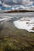 A small stream leads into the frozen Laguna de Los Peces, in the Sanabria region of Northern Spain