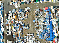 Aerial view of stacks/piles of recycled materials in North Jersey
