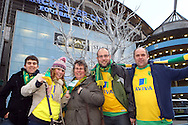Picture by Paul Chesterton/Focus Images Ltd.  07904 640267.03/12/11.Norwich fans outside stadium before the Barclays Premier League match at the Etihad Stadium, Manchester.