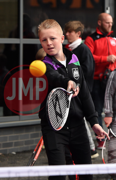 Bristol City fans play tennis outside Ashton Gate before the match against MK Dons - Mandatory by-line: Paul Knight/JMP - Mobile: 07966 386802 - 03/10/2015 -  FOOTBALL - Ashton Gate Stadium - Bristol, England -  Bristol City v MK Dons - Sky Bet Championship