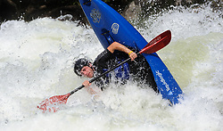 An unidentified whitewater kayaker overturns their kayak going through the rapids at Pillow Rock on the Gauley River during American Whitewater's Gauley Fest weekend. The upper Gauley, located in the Gauley River National Recreation Area is considered one of premier whitewater rivers in the country.