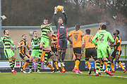 Cambridge United goalkeeper David Forde(1) comes to collect a cross during the EFL Sky Bet League 2 match between Forest Green Rovers and Cambridge United at the New Lawn, Forest Green, United Kingdom on 20 January 2018. Photo by Shane Healey.