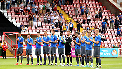 Bristol Rovers take part in a minutes applause for former Exeter City manager Eamonn Dolan ahead of the preseason friendly between the two sides - Mandatory by-line: Robbie Stephenson/JMP - 16/07/2016 - FOOTBALL - St James Park - Exeter, England - Exeter City v Bristol Rovers - Pre-season friendly