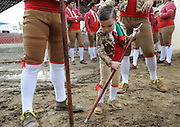 BEA AHBECK/NEWS-SENTINEL<br /> Forcados Amadores do Aposento de Turlock's Danny Terra's son Luciano Terra, 4, plays as they wait to enter the bullfighting ring during the bloodless bullfight during the Our Lady of Fatima Portuguese Festival in Thornton Saturday, Oct. 15, 2016.
