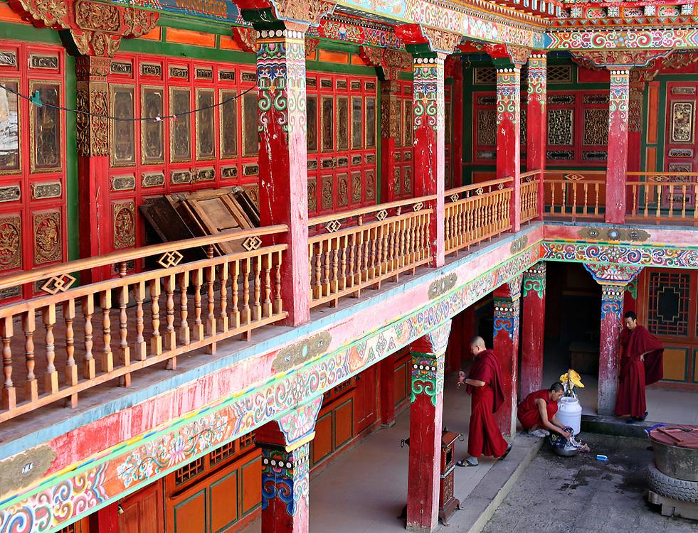 Monks at Ganden Sumtsenling Monastery in Shangri-la, Yunnan, China; September, 2013.