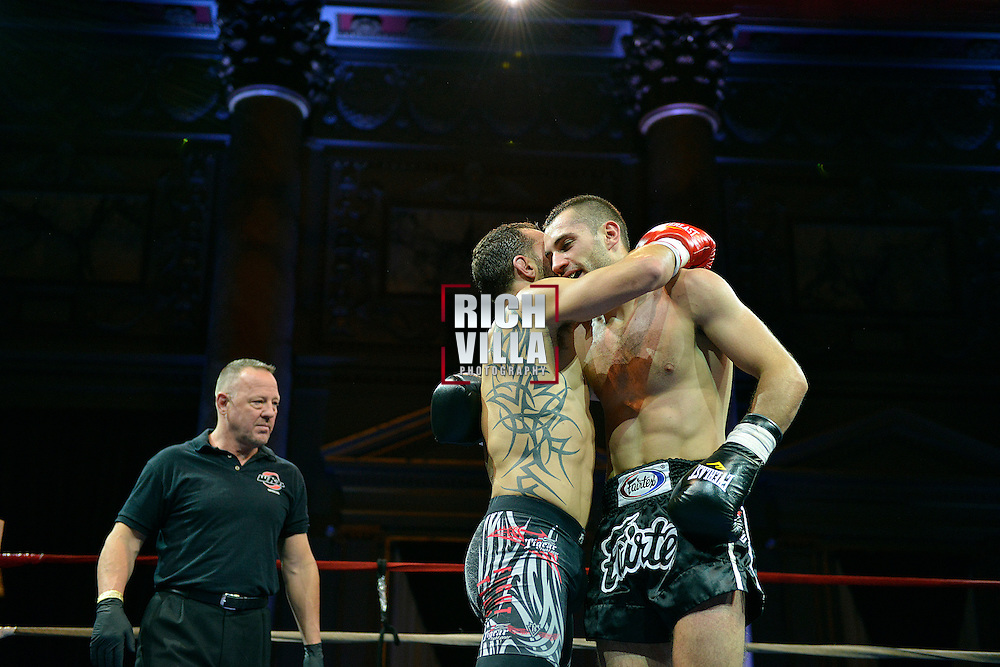 Nick Pace(Left) and Niko Tsigaras(Right) hug it out for what was the best fight to ever happen at Combat at the Capitale event at the Capitale Theater in New York City on September 27, 2013