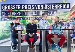 14.01.2016, Hahnenkamm, Kitzbühel, AUT, FIA, Formel 1, Projekt Spielberg Showrun, im Bild Max Verstappen (NED), Dr. Helmut Marko (Red Bull Racing), Walter Zipser, Gerhard Berger (AUT) // Max Verstappen of Netherlands, Dr. Helmut Marko (Red Bull Racing), Moderator Walter Zipser, former formula one driver Gerhard Berger of Austria during the Project Spielberg Showrun at Hahnenkamm in Kitzbuehel, Austria on 2016/01/14. EXPA Pictures © 2016, PhotoCredit: EXPA/ Johann Groder