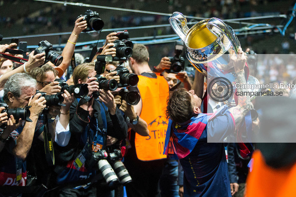 BERLIN, GERMANY - June 6th 2015:<br /> <br /> Barcelona 10 Lionel Messi celebrates after winning the UEFA Champions League Final between Juventus FC and FC Barcelona at Olympiastadion in Berlin, Germany on June 6th 2015. (Photo: Michael Campanella)