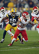Kansas City Chiefs cornerback Phillip Gaines (23) chases the action during the 2015 NFL week 3 regular season football game against the Green Bay Packers on Monday, Sept. 28, 2015 in Green Bay, Wis. The Packers won the game 38-28. (©Paul Anthony Spinelli)