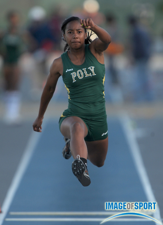 May 22, 2010; Norwalk, CA, USA; Melia Cox of Long Beach Poly was second in the Division I girls' triple jump at 39-0 3/4 in the CIF Southern Section Championships at Cerritos College.