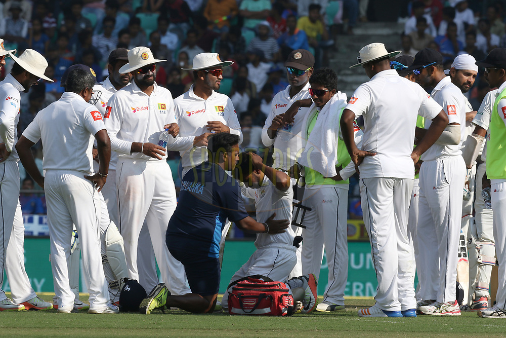 Suranga Lakmal of Sri Lanka player take treatment during day two of the 2nd test match between India and Sri Lanka held at the Vidarbha Cricket Association Stadium, Nagpur on the 25th November 2017<br /> <br /> Photo by Deepak Malik / BCCI / Sportzpics
