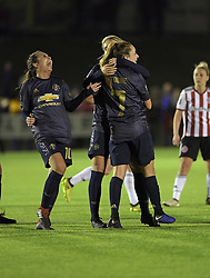 February 20, 2019 - Sheffield, United Kingdom - An ecstatic reaction from Manchester United's Katie Zelem as she joins in the team's celebration of a second goal during the  FA Women's Championship football match between Sheffield United Women and Manchester United Women at the Olympic Legacy Stadium, on February 20th Sheffield, England. (Credit Image: © Action Foto Sport/NurPhoto via ZUMA Press)