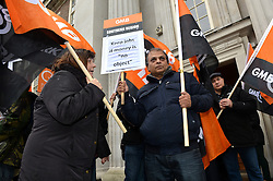 GMB London and Southern Regions protest outside of a meeting at Friends House, Euston Road, between the Environment Agency and unions over possible redundancies.<br /> Thursday, 20th February 2014. Picture by Ben Stevens / i-Images
