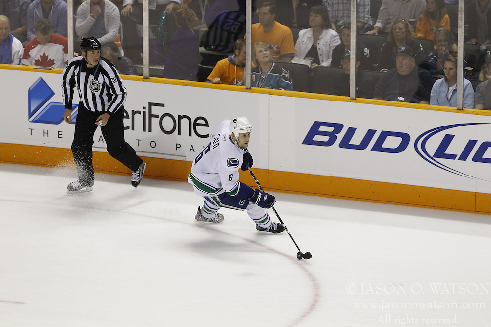 May 20, 2011; San Jose, CA, USA;  during the first period of game three of the western conference finals of the 2011 Stanley Cup playoffs at HP Pavilion. San Jose defeated Vancouver 4-1. Mandatory Credit: Jason O. Watson / US PRESSWIRE