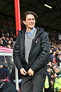Brentford Head Coach Thomas Frank during the EFL Sky Bet Championship match between Brentford and Queens Park Rangers at Griffin Park, London, England on 2 March 2019.
