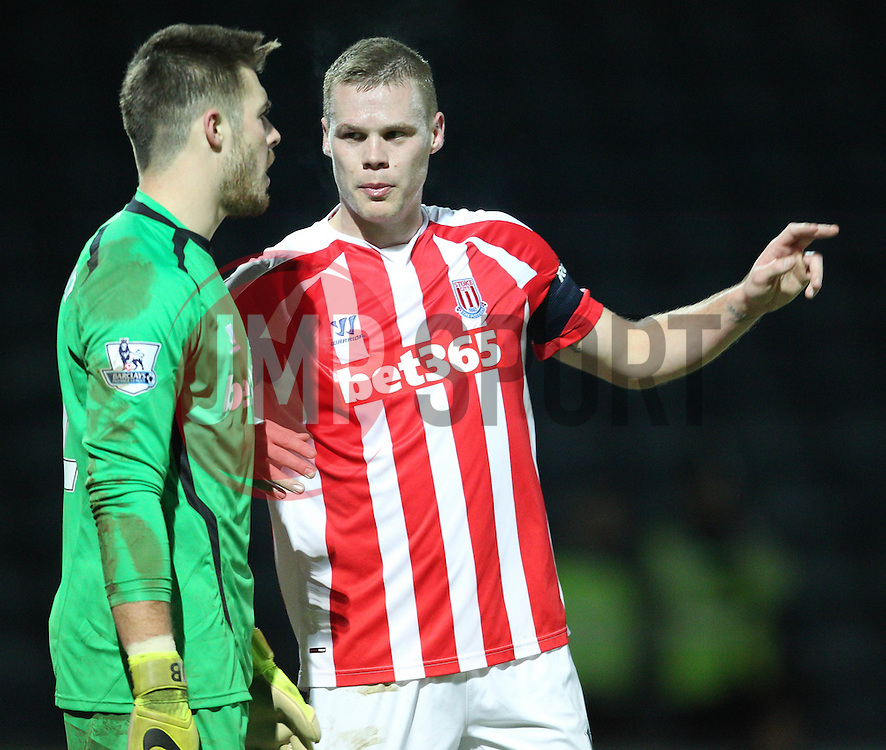 Stoke City's Ryan Shawcross gives instructions to Stoke City's Jack Butland - Photo mandatory by-line: Matt McNulty/JMP - Mobile: 07966 386802 - 26/01/2015 - SPORT - Football - Rochdale - Spotland Stadium - Rochdale v Stoke City - FA Cup Fourth Round