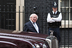 © Licensed to London News Pictures. 09/04/2014. London, UK. Michael D Higgins, the Irish President leaves Downing Street after his visit to the British Prime Minister, David Cameron in Downing Street, London on Wednesday, 9th April 2014. Photo credit : Vickie Flores/LNP