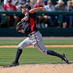 Feb 27, 2013; Lakeland, FL, USA; Atlanta Braves relief pitcher Jonny Venters (39) against the Detroit Tigers during the a spring training game at Joker Marchant Stadium. Mandatory Credit: Derick E. Hingle-USA TODAY Sports