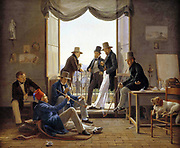 A company of Danish artists in Rome, 1837 by Carl Constantin Hansen (1804 – 1880), Danish painter.