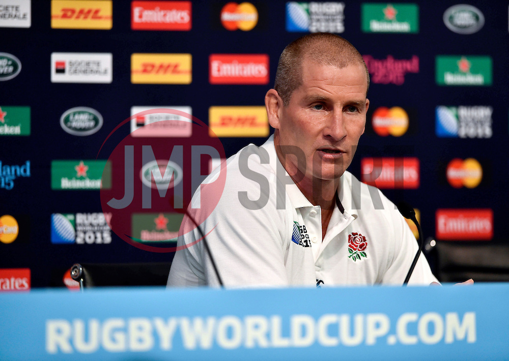 England Head Coach Stuart Lancaster faces the media at a press conference - Mandatory byline: Patrick Khachfe/JMP - 07966 386802 - 09/10/2015 - RUGBY UNION - Manchester City Stadium - Manchester, England - England Captain's Run - Rugby World Cup 2015.