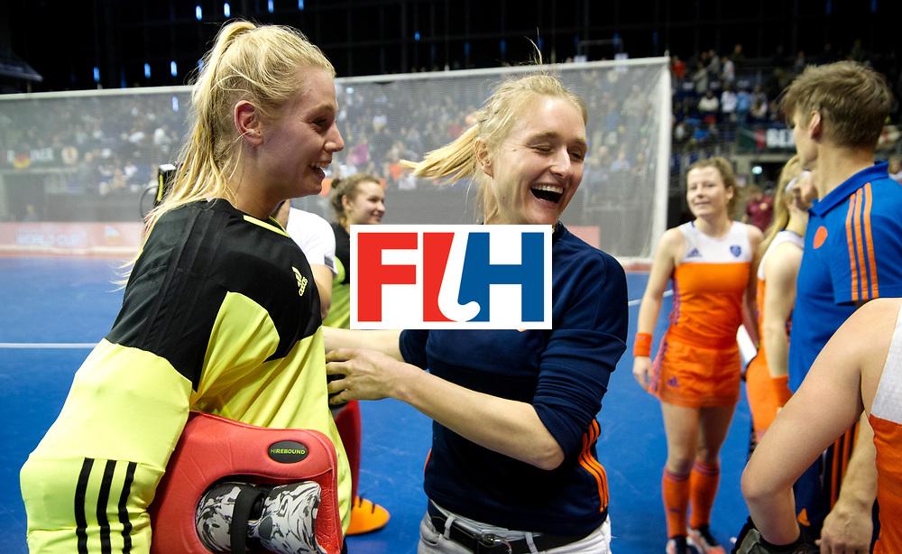 BERLIN - Indoor Hockey World Cup<br /> Quarterfinal 4: Netherlands - Czech Republic<br /> foto: HEERBAART Alexandra and Marieke Dijkstra<br /> WORLDSPORTPICS COPYRIGHT FRANK UIJLENBROEK