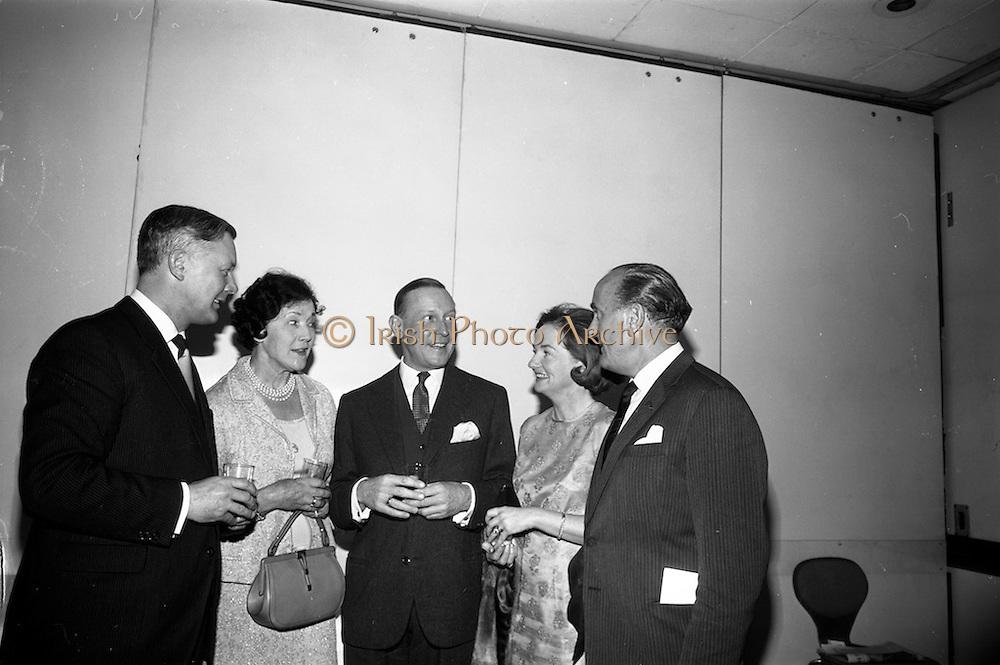 05/05/1965<br /> 05/05/1965<br /> 05 May 1965<br /> Ballsbridge Motors Ltd. Wholesale Division, reception at the Intercontinental Hotel Dublin. Chatting at the reception were (l-r): Mr. T.C. Andrews, General Manager, Wholesale Division, Ballsbridge Motors Ltd., Dublin; Mrs Stephen O'Flaherty; Mr. Allen Zane, Daimler-Benz, Stuttgard; Mrs T.C. Andrews and Mr. Stephen O'Flaherty, Chairman, Motor Manufacturers Ltd., Dublin.