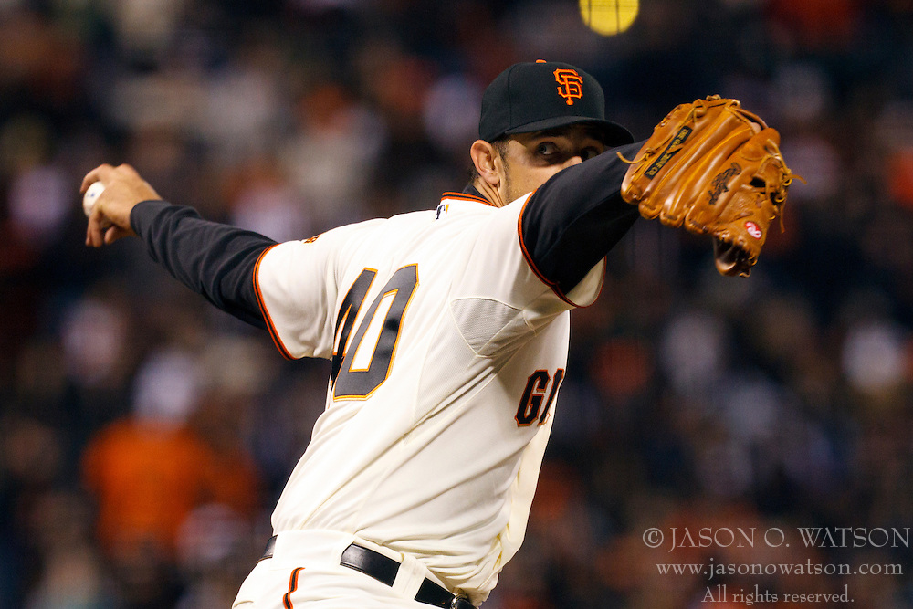 April 11, 2011; San Francisco, CA, USA;  San Francisco Giants starting pitcher Madison Bumgarner (40) pitches against the Los Angeles Dodgers during the third inning at AT&T Park.