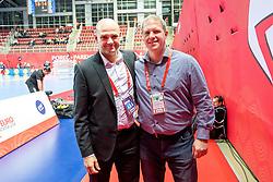 16.01.2018, Zatika Sport Centre, Porec, CRO, EHF EM, Herren, Österreich vs Norwegen, Gruppe B, im Bild v.l. Generalsekretär Martin Hausleitner (EHF), Teammanager Philipp Wagner (AUT) // during the preliminary round, group B match of the EHF men's Handball European Championship between Austria and Norway at the Zatika Sport Centre in Porec, Croatia on 2018/01/16. EXPA Pictures © 2018, PhotoCredit: EXPA/ Sebastian Pucher