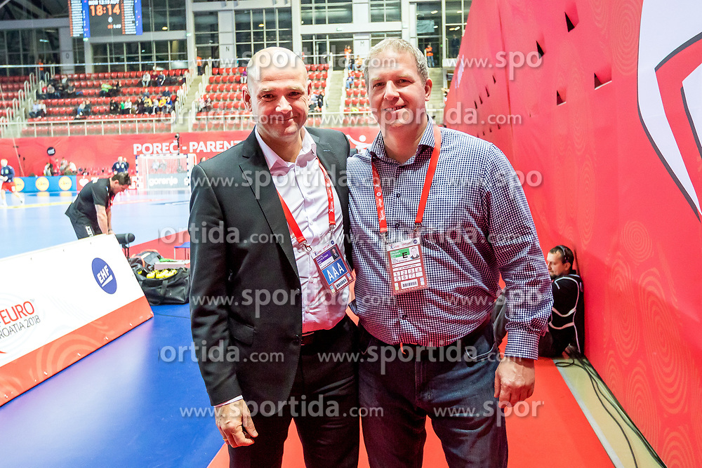 16.01.2018, Zatika Sport Centre, Porec, CRO, EHF EM, Herren, Österreich vs Norwegen, Gruppe B, im Bild v.l. Generalsekretär Martin Hausleitner (EHF), Teammanager Philipp Wagner (AUT) // during the preliminary round, group B match of the EHF men's Handball European Championship between Austria and Norway at the Zatika Sport Centre in Porec, Croatia on 2018/01/16. EXPA Pictures © 2018, PhotoCredit: EXPA/ Sebastian Pucher