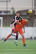 Dundee&rsquo;s Matty Allan wins an aerial challenge - Dundee v Dundee United in the SPFL Development League at Links Park, Montrose. Photo: David Young<br /> <br />  - &copy; David Young - www.davidyoungphoto.co.uk - email: davidyoungphoto@gmail.com