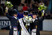Podium World Cup Final Dressage 1. Isabell Werth and Weihegold OLD, 2. Laura Graves and Verdades 3. Helen Langehanenberg and Damsey FRH<br /> FEI World Cup Final Gothenburg 2019<br /> &copy; DigiShots