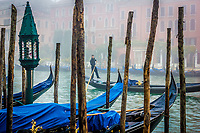 Gondolier rowing on the Grand canal, Venice, Veneto,