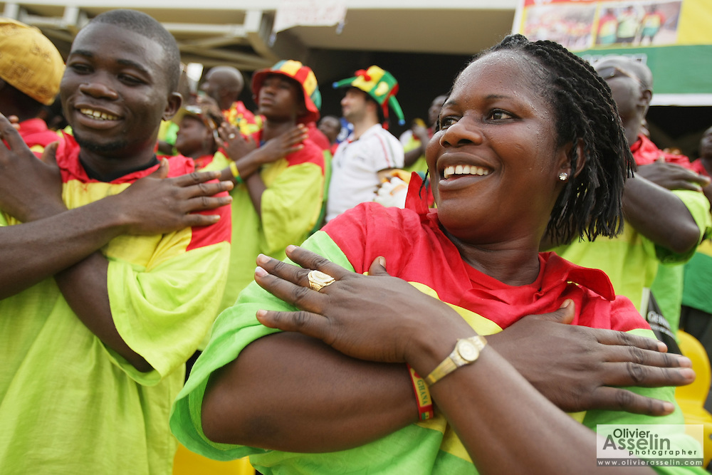 Supporters of the Ghana national football team cheer prior to a game against Cameroon during the 2008 Africa Cup of Nations in Accra, Ghana on February 7, 2008.