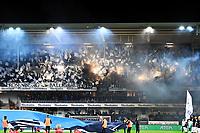 Fotball Menn Eliteserien Rosenborg-Odd<br /> Lerkendal Stadion, Trondheim<br /> 4 november 2018<br /> <br /> <br /> Rosenborgs supportere Kjernen med bluss og flagg før kampstart. Illustrasjon<br /> <br /> <br /> <br /> Foto : Arve Johnsen, Digitalsport
