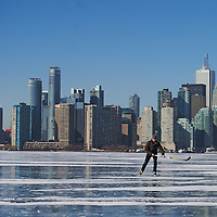 Skating, Hockey, Frozen Toronto Harbour, Winter 2015, Toronto, Lake Ontario