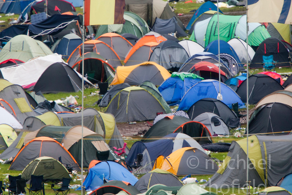 Campsite after the weekend..T in the Park on Monday 11th July 2011. T in the Park 2011 music festival takes place from 7-10th July 2011 in Balado, Fife, Scotland..©Pic : Michael Schofield.