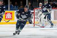 KELOWNA, CANADA - JANUARY 16: Cory Millette #20 of Seattle Thunderbirds skates against the Kelowna Rockets on January 16, 2015 at Prospera Place in Kelowna, British Columbia, Canada.  (Photo by Marissa Baecker/Shoot the Breeze)  *** Local Caption *** Cory Millette;