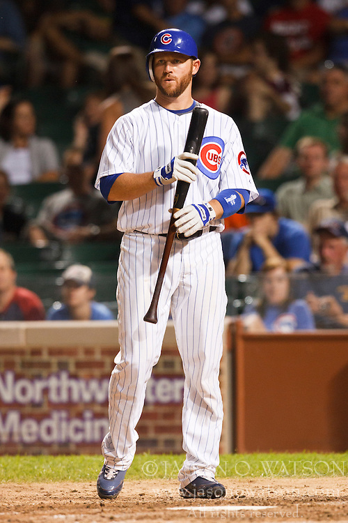 August 16, 2010; Chicago, IL, USA;  Chicago Cubs catcher Koyie Hill (55) reacts after striking out against the San Diego Padres during the eighth inning at Wrigley Field.  San Diego defeated Chicago 9-5.