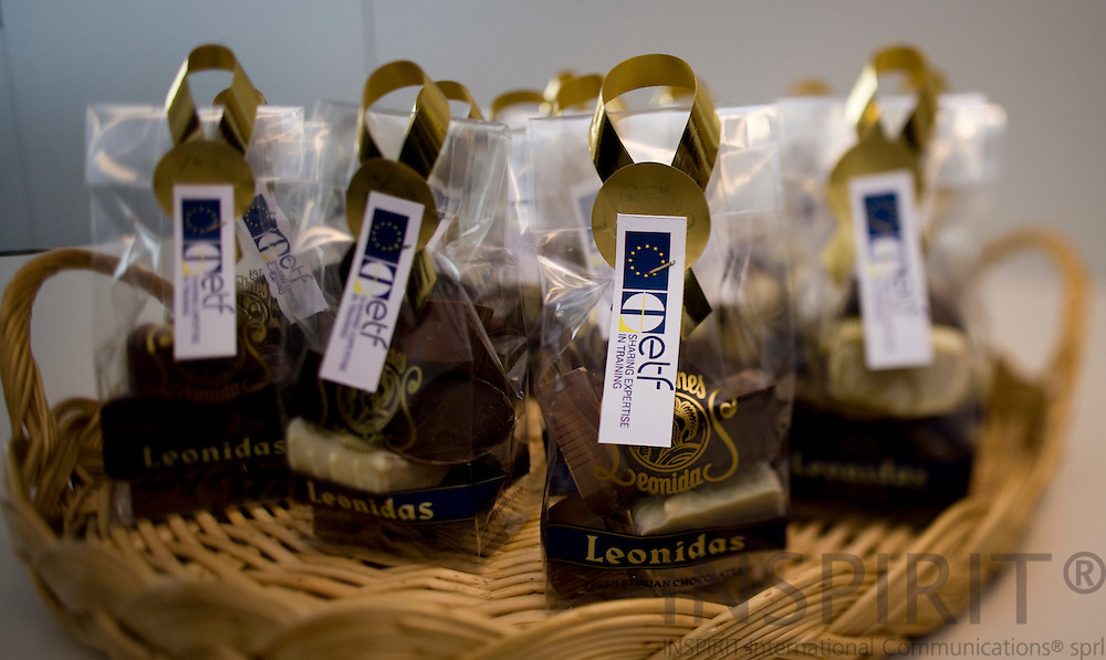BRUSSELS - BELGIUM - 5 SEPTEMBER 2008 -- Belgium chocolate from Leonidas with the European Training Foundation logo.  -- Photo Erik LUNTANG / EUP-Images